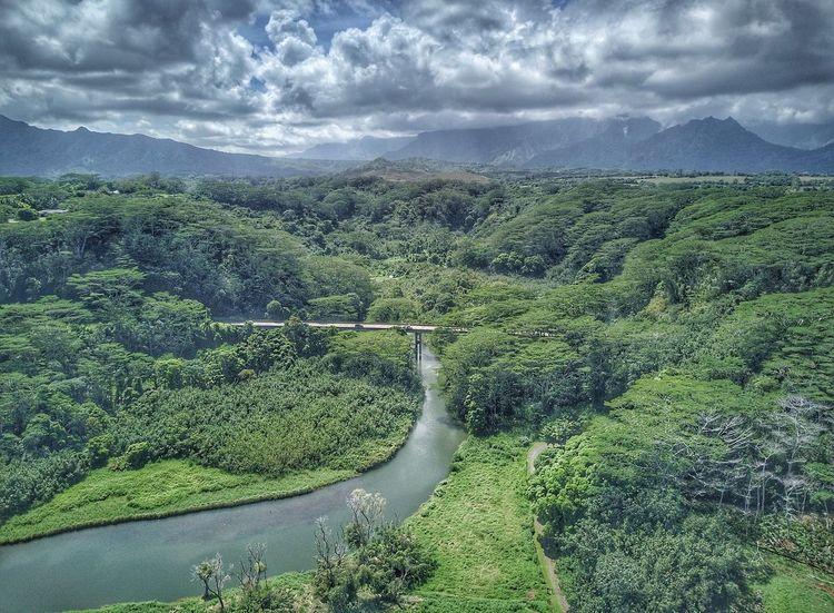 Kuhio Highway Kauai Hawaii Landscape Kuhio Bridge Kuhio
