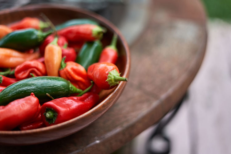 Close-up of chili peppers in plate on table