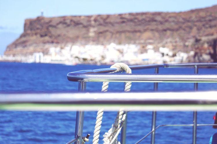 Close-up of railing om ferry boat