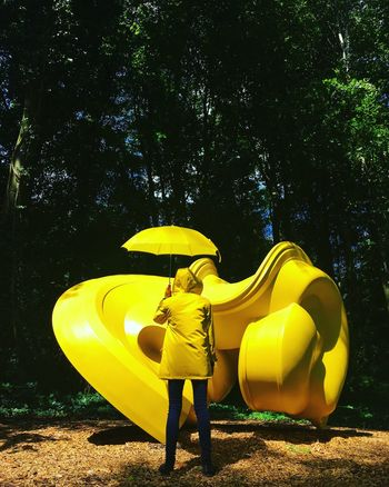 The Color Of School Yellow Umbrella Girl Sculpture Full Length Vibrant Color Rubber Boot Casual Clothing