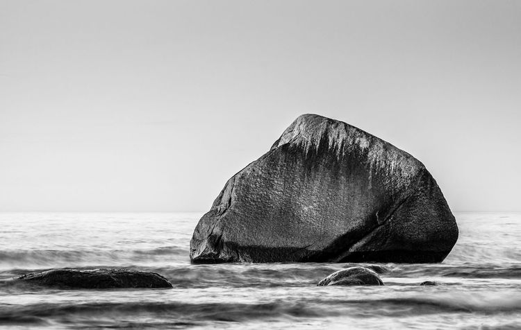 Rock on the Baltic Sea coast. Baltic Sea Beauty In Nature Black & White Blackandwhite Clear Sky Coast Day Horizon Over Water Lohme Nature No People Outdoors Rock Ruegen Island Scenics Schwanenstein Sea Shore Sky Stone Water