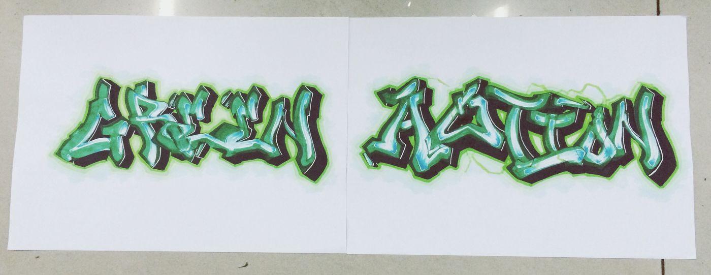 手稿 Graffiti Drawing :) Nice Color Drawing ✏ Enjoying Life green action