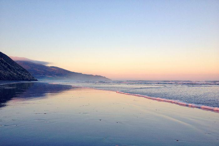Raglan Nz Black Sand Beach IPhoneography Beach Sunrise Sunrise Sea Low Tide Pink Sunrise Beach