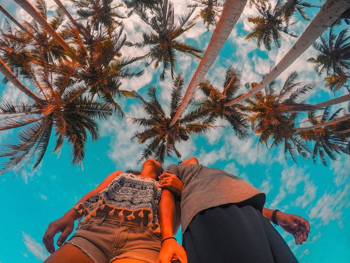 Low section of people on palm tree against plants