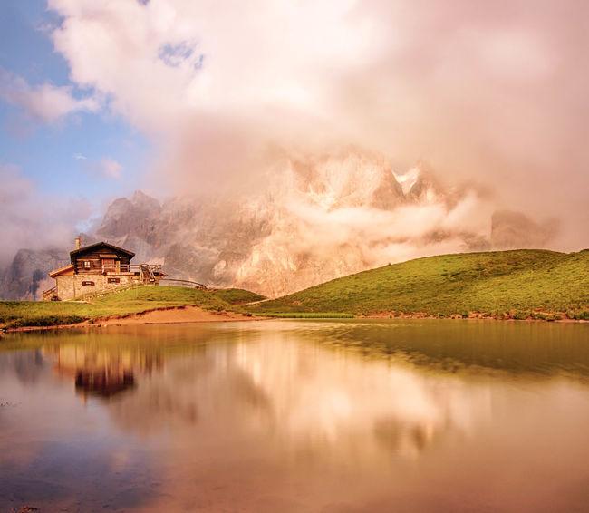 Magic fog ☄ Reflection Sunset Mountain Outdoors Water Scenics Landscape Nature Lake Beauty In Nature Clouds Colors Tranquility Dolomites, Italy Trentino Alto Adige Light Mountain Range Travel Destinations Baita Segantini Passo Rolle