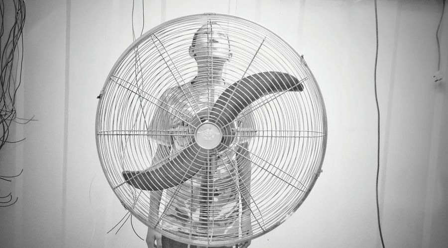 spirit of the fan.... Electric Fan Indoors  Boy Circles Pattern Black&white Wire Wires And Cables ın The Room Construction Site