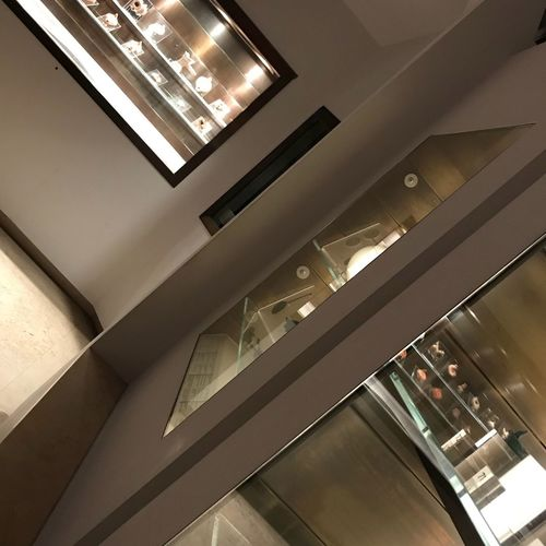 Museum Indoors  Illuminated Architecture Built Structure Lighting Equipment Low Angle View No People Ceiling Modern Staircase Glass - Material Building Railing Window Elevator Business Recessed Light Luxury Architectural Column Technology