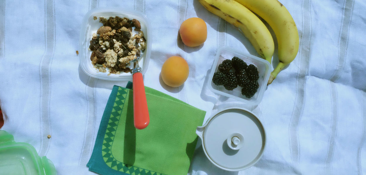 Banana Breakfast Fruit Breakfaat Blackberry - Fruit Bowl Breakfast Close-up Eating Utensil Food Food And Drink Fruit Healthy Eating High Angle View Household Equipment Indoors  Kitchen Utensil Meal No People Peach Picnic Time ♡ Spoon Table Tray Wellbeing