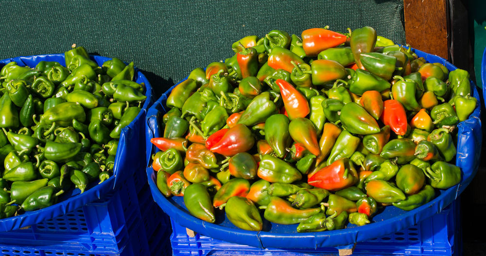 Directly above shot of chili peppers in container for sale