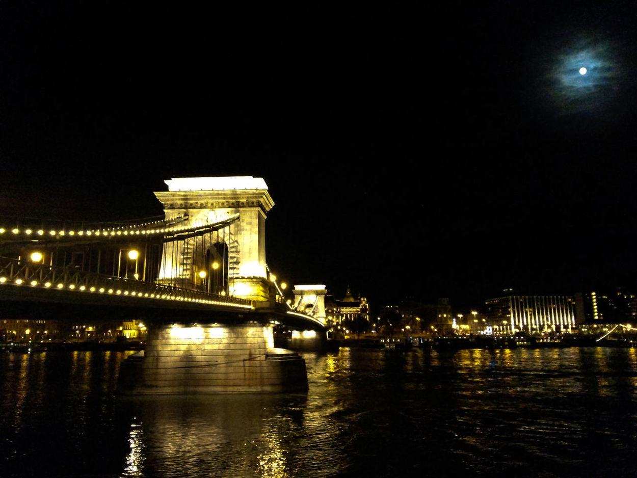 Architecture Bridge On Danube Budapest Capital Cities  Chain Bridge Famous Place Full Moon Night Lights