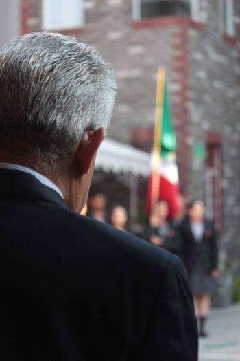 One Man Only Senior Adult Rear View Focus On Foreground Well-dressed Outdoors City Flag Mexico People
