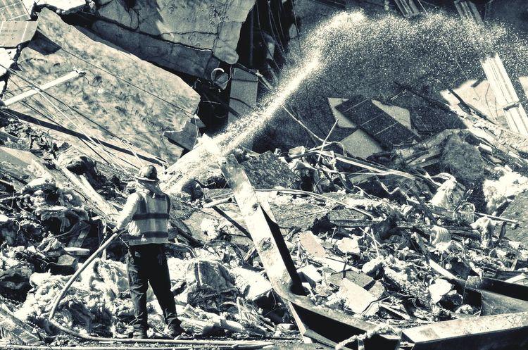 Construction Worker Hose Hosepipe Water Jet Demolition Monochrome Demolition Zone