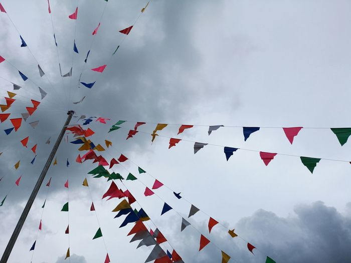 Low angle view of multi colored prayer flags against sky