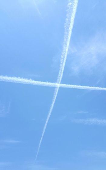 Eyeem Photography EyeEm Jet Planes Smoke Crossing Lines Crossing Over Blue Sky Twp Planes