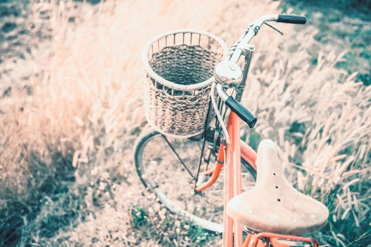 High angle view of bicycle in basket