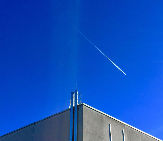 Background Photography Blue Blue Sky Building Exterior Built Structure Clear Sky Contrail Corners And Edges Day Low Angle View No People Outdoors Sky Vapor Trail Ventilation Pipes Background For Quotes Innovation Future Vision Presentation Background
