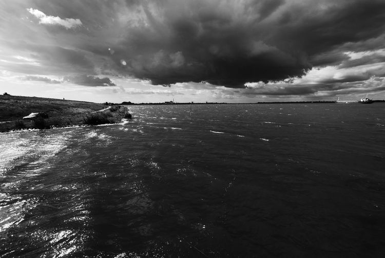 Elbe River Weather Beauty In Nature Cloud - Sky High Tide Nature No People Power In Nature Scenics - Nature Sea Sky Storm Storm Cloud Storm Flood Tranquil Scene Water Waterfront