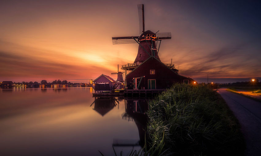 Zaanse Schans Windmills Sunset Remo SCarfo Summer Holland Dutch Water Sky Architecture Built Structure Building Exterior Cloud - Sky Nature Turbine No People Reflection Wind Turbine Orange Color Renewable Energy Wind Power Traditional Windmill Fuel And Power Generation Environmental Conservation Alternative Energy