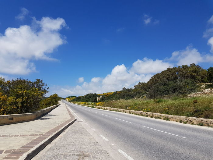 road Malta No Edit/no Filter Holiday Tree Road Winding Road Mountain Sky Cloud - Sky Landscape Highway vanishing point Empty Road