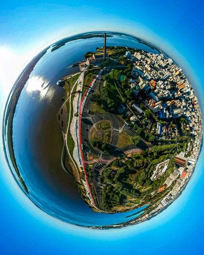 DJI X Eyeem Djispark Aerial Photography Dronephotography Drone  Droneshot Drone Moments Portoalegre  Brasil Tiny Planet Tinyworld Orladoguaiba Guaibariver Usinadogasometro Gasometro Planet Earth Technology City Cityscape Sky Close-up Planet - Space World Map Globe Skyscraper Skyline Sphere