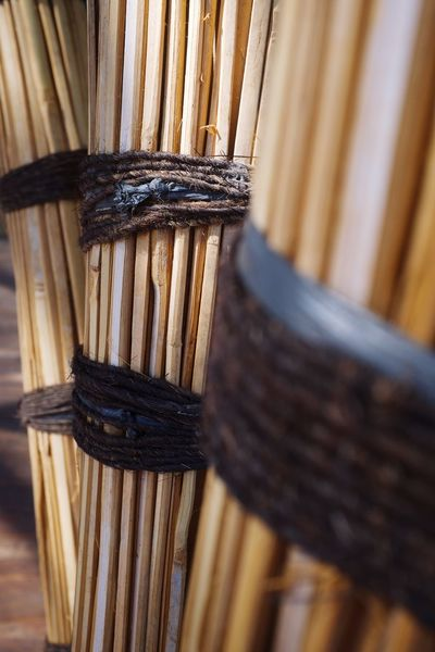 Trendy bamboo structures popping up throughout Bali. Wallpaper Background Image Built Structure Sustainability Sustainable Resources EyeEm Selects Wood - Material Indoors  Still Life No People Close-up Tied Up Focus On Foreground Abundance Pattern Brown Bamboo - Material