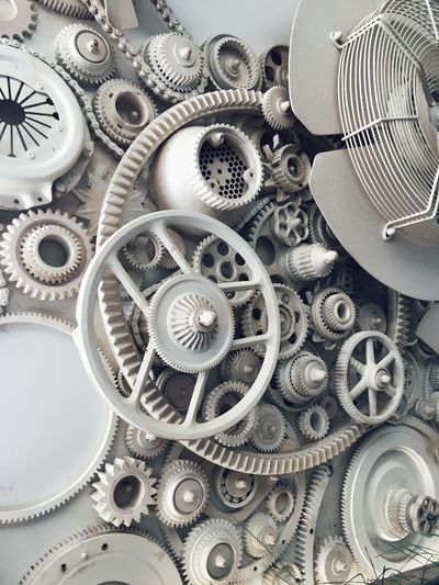Machine Part Gear Equipment Metal Close-up No People Indoors  Large Group Of Objects Studio Shot Machinery Time Clockworks Choice Directly Above Silver Colored Complexity Still Life Clock Technology Shape