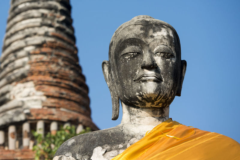 Low Angle View Of Buddha Statue At Wat Mahathat Against Clear Sky