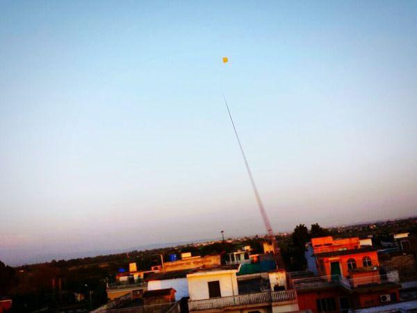 Flying A Kite Having Fun Basant Nice Day