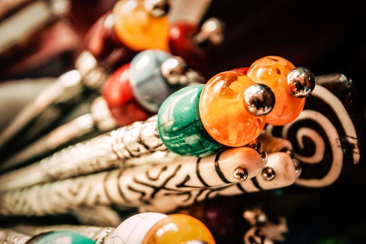 Close-up of multi colored souvenir