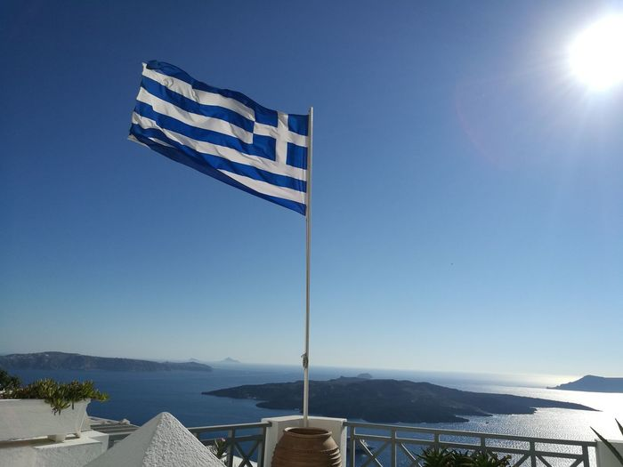 Greece Flag Santorini Sky Blue Scenics Summer Horizon Travel Destinations Nature No People Clear Sky Outdoors Day Simplicity Tranquility Be. Ready. Building Exterior Blueandwhite Clear Sky Tranquil Scene Architecture EyeEm Selects Water Horizon Over Water