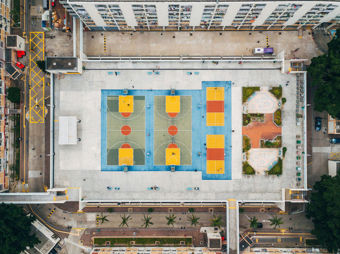Aerial view of basketball courts in city