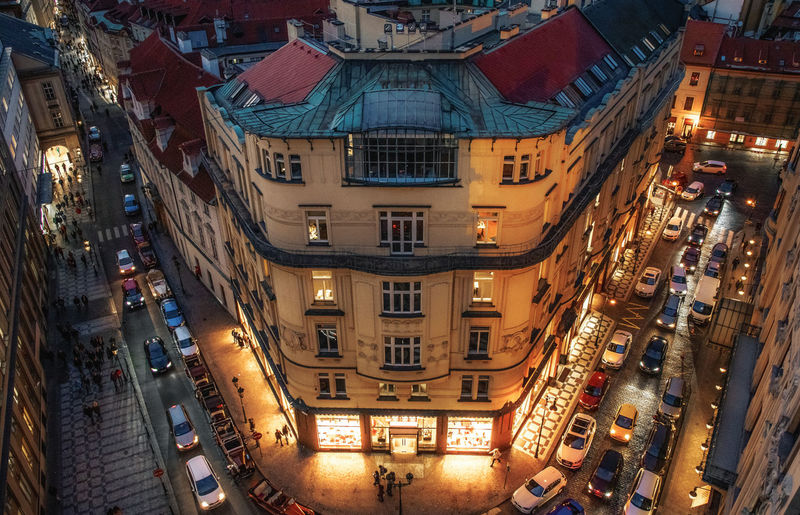 Architecture Building Exterior City Built Structure Illuminated Building Street High Angle View Residential District Night Transportation Road City Life Crowd Outdoors Incidental People Mode Of Transportation Travel Destinations City Street Prague Prague Czech Republic Light And Shadow Cars Traffic Lights Trip Photo My Best Photo
