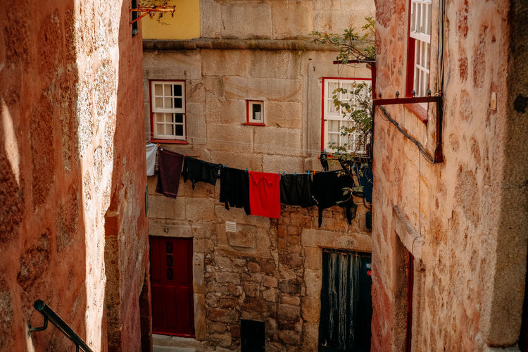 Clothes drying on old building