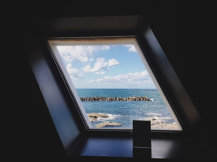 Window Sea Sky Cloud - Sky Water Indoors  Horizon Over Water No People Day Scenics Architecture Sunlight Nature Beauty In Nature Japan Vscocam VSCO