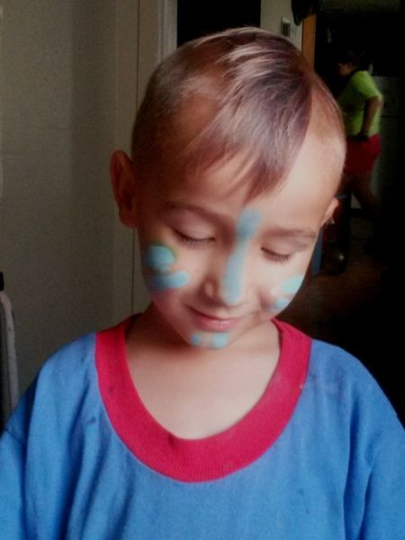 Childhood One Boy Only Children Only Child Indoors  One Person Boys People Males  Smiling Day Grandsonlove Painted Face Blue Paint Happy People 4ever Happy Time Treasures Indoors  At Nana's House Haapy Time Kids Are Awesome Kids Art Superman Childhood Memories