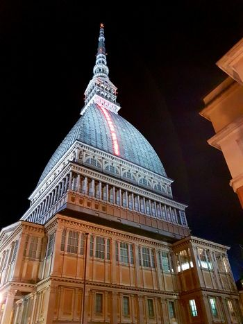 Architecture Travel Destinations Building Exterior Illuminated Low Angle View Building Feature Traveling Home For The Holidays Streetphotography Feel The Journey Feel The Journey, Samsung Galaxy S7 Edge EyeEm Best Shots Outdoors Sky Mole Antonelliana History Night Travel Museo Del Cinema Io Sono Leggenda Adapted To The City