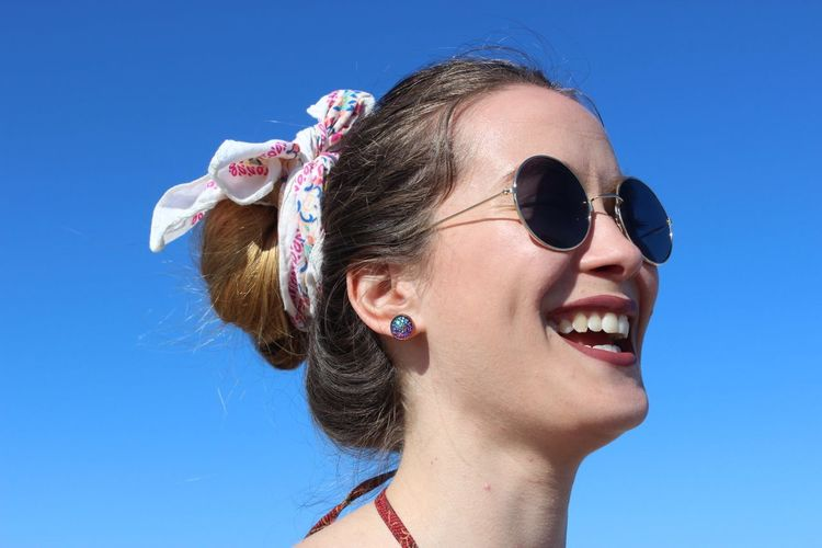 Her laugh ❤️ Classic Summer Cute Headshot Portrait Fashion Blue One Person Sky Young Adult