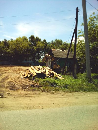 Country road's landscape Countryside Village View Telegraph Pole Wood Pole Dirty Road Road House Country House Wood Boards Trees Summer July Day Landscapes Hot Day Russia
