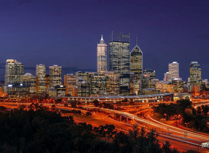 Perth CBD at night Australia CBD City Cityscape Light Nightphotography Perth Traffic Lighttrails Longexposure Urban Warm