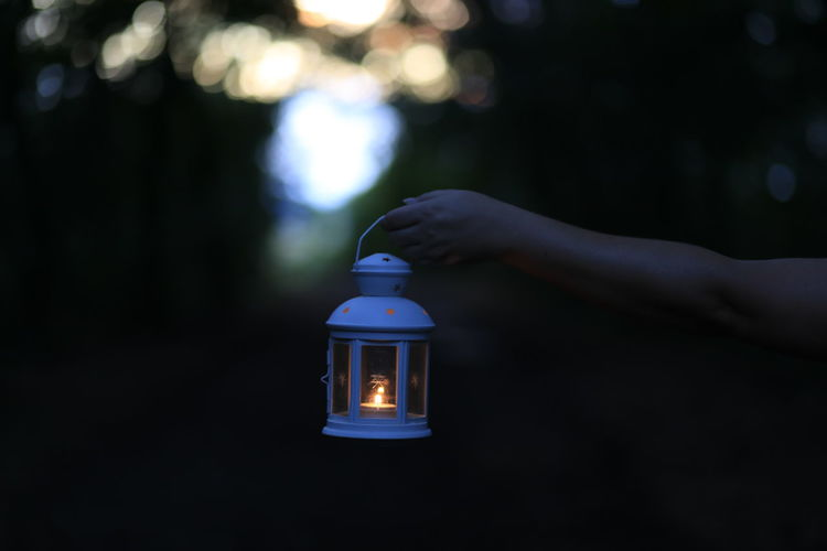 Cropped hand of woman holding lit lantern in forest