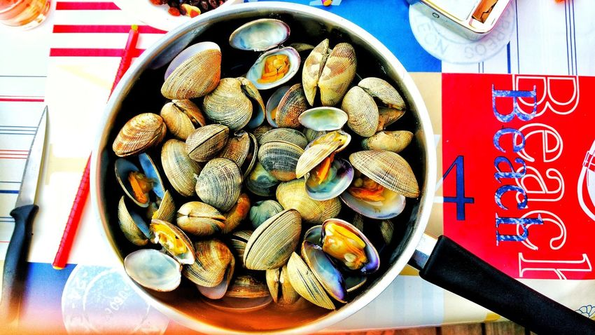 Clams Close-up Coocking Hollydays❤️ Camping Camp Campinglife Vacations Travel Destinations Loire-atlantique France🇫🇷 HuaweiP9Photography Food Table Plate Directly Above Ready-to-eat Freshness Healthy Eating Temptation No People Food Stories