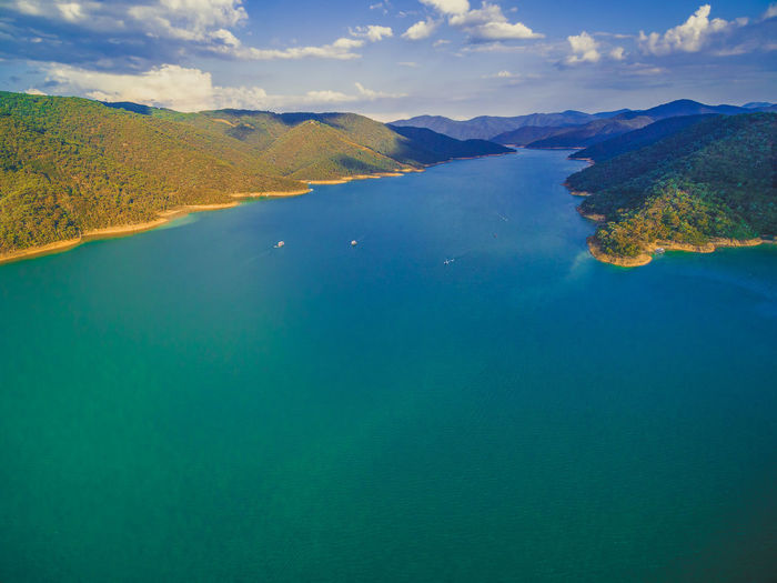 Aerial view of beautiful lake Australia Australian Landscape Drone  Goulburn River Panorama Panoramic Victoria Aerial View Beauty In Nature Day Drone Photography Eildon High Angle View Lake Lake Eildon Landscape Melbourne Mountain Nature No People Outdoors Scenics Sky Tranquil Scene Tranquility Water Waterfront