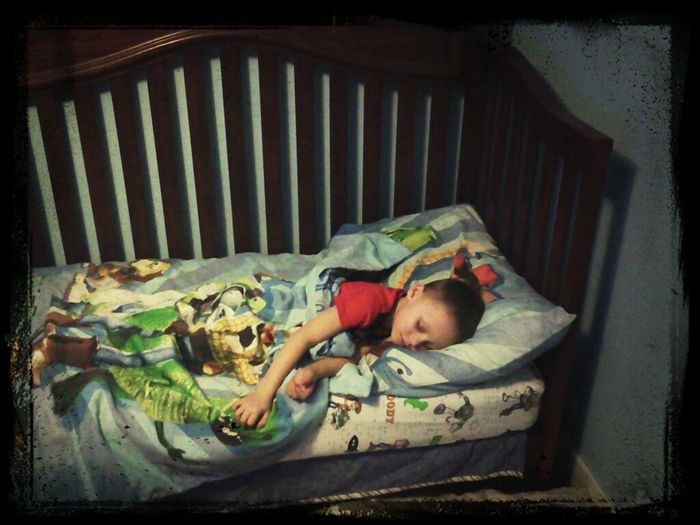 So Proud Of My Big Boy. He Fell Asleep In His Own Bed Tonight!! Love Him <3