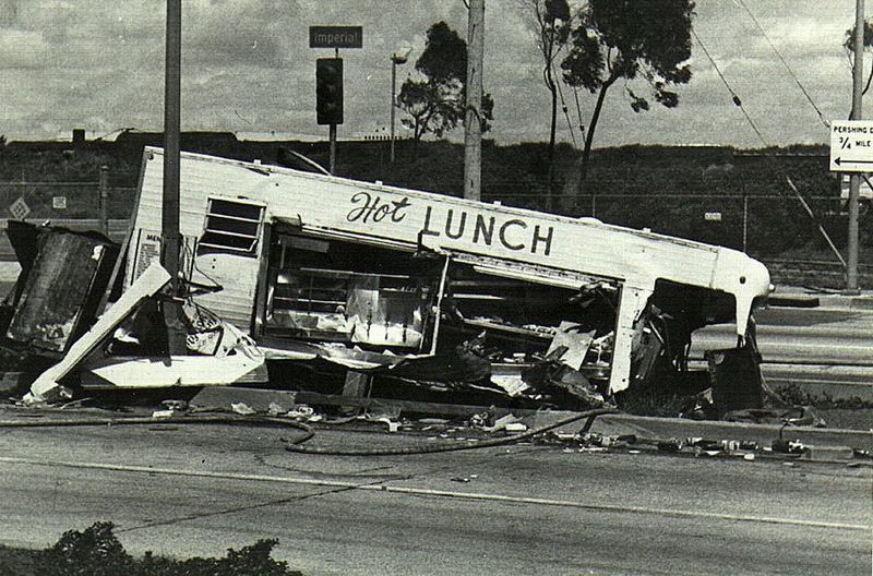 "Hot Lunch! All over the street. Took this in the late 70s/early 80s. Published repeatedly by National Lampoon in their ""True Facts"" section and specials. Found it on a calendar a couple of years ago, right on the box cover. Crash Day Food Truck Irony National Lampoon No People Outdoors Transportation True Facts"
