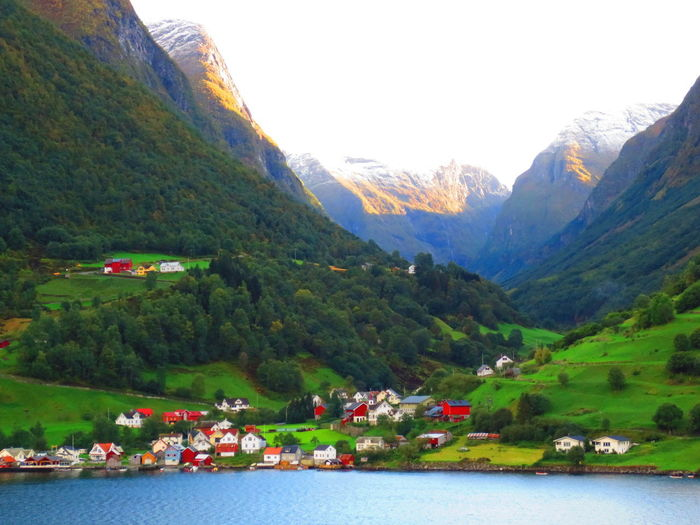 Architecture Beauty In Nature Day Landscape Mountain Mountain Range Nature No People Norway Outdoors Scenics Tree Village Water