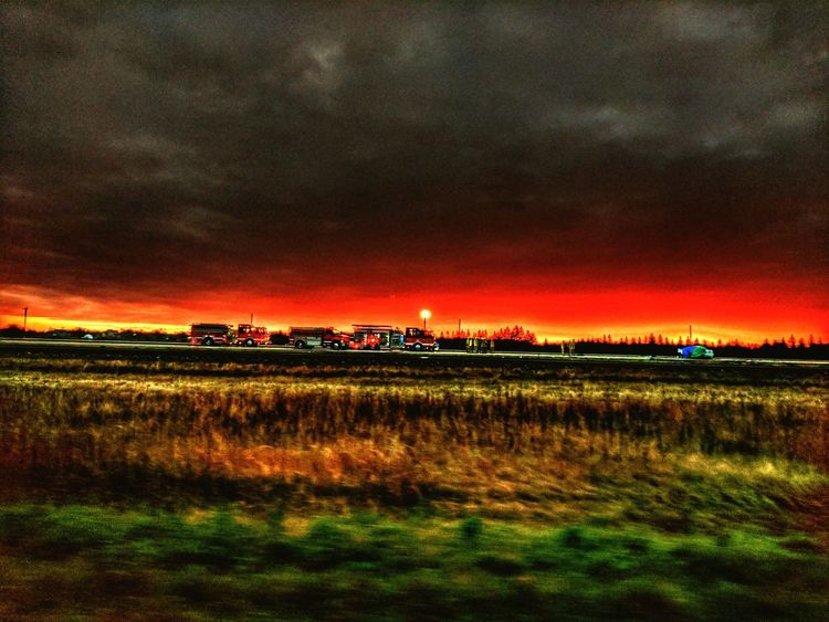 Field Night Rural Scene Dramatic Sky Outdoors Accident Scene Emergency Services Emergency Vehicles Emergency Crews Fire Trucks drove by this scene this morning. Only read the news now. RIP. Break The Mold The Photojournalist - 2017 EyeEm Awards