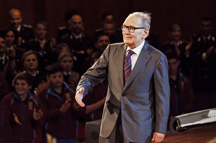 Rome, Italy - May 6, 2015: Ennio Morricone receives a plaque, Lifetime Achievement Award during the concert of the State Police. AWARD Celebrities Celebrity Composer Concert Ennio Morricone Famous Famous People Film Italian Moricone Music Oscar Star