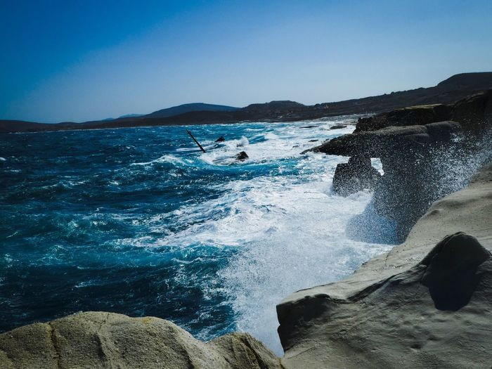 Wild Sea Beauty In Nature Nature Water Clear Sky Motion Wave Blue Scenics Day Outdoors Force No People Crash Power In Nature Sky Horizon Over Water