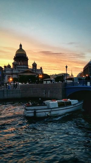 summer evening Church Tranquility Tranquil Scene Saint Petersburg Summer Saint Isaac's Cathedral Water Built Structure Sunset Building Exterior Nautical Vessel Transportation City Nature Building Cloud - Sky Outdoors No People