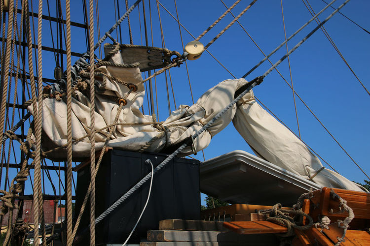 Low angle view of sail on sailing ship